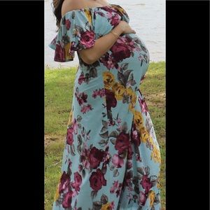 Pinkblush Blue Floral Off The Shoulder Maxi Dress